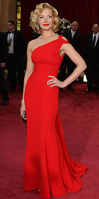 Katherine Heigl - Red Dresses - Oscars 2008 Fashion Trends - Oscars 2008 - Celebrities - In Style :  katherine heigl oscars red dress asymmetical neckline