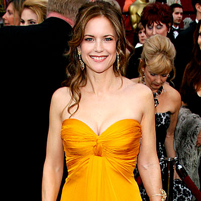 Kelly Preston - Simply Strapless - Oscars 2008 Fashion Trends - Oscars 2008 - Celebrities - In Style :  oscars orange sweetheart neckline dress