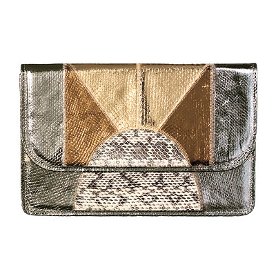 Fall Trends, Metallic, Romanek Los Angeles Snakeskin clutch