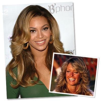 Beyonce, Farrah Fawcett's Hair. Peter Kramer/AP Photo; Globe Photos