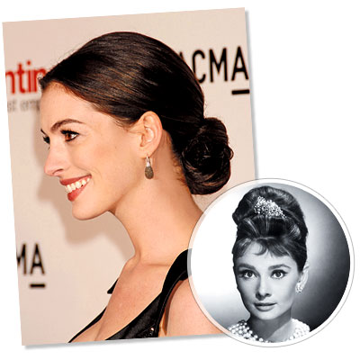 The Updo hairstyle - Anne Hathaway - Audrey Hepburn - Updo Hair - Classic Hairstyles