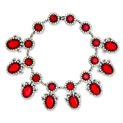 Vintage Kenneth Jay Lane Faux Ruby and Rhinestone Necklace
