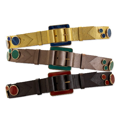 Meredith Wendell Color Block Metallic Belts
