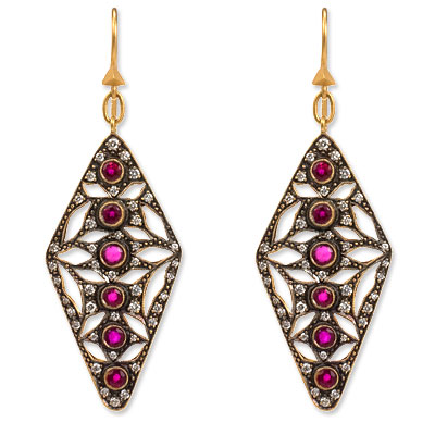 Cathy Waterman 22K Gold, Ruby and Diamond Earrings