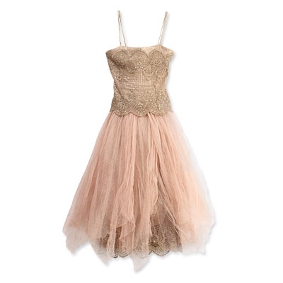 Ralph Lauren Lamé and Tulle Embroidered Dress