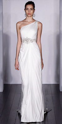 Kenneth Pool - One-Shoulder Gowns - Runway Report: Spring 2010 - Fashion - InStyle Weddings from instyleweddings.com