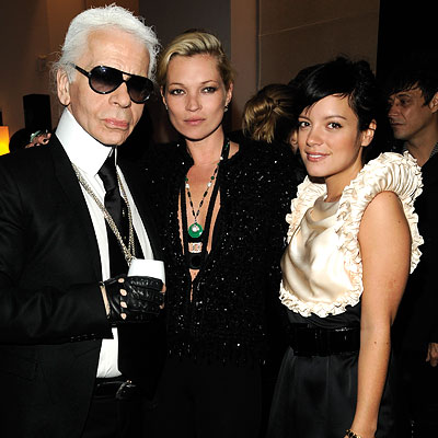 Karl Lagerfeld, Kate Moss, Lily Allen at Chanel