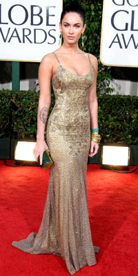 Megan Fox in Ralph Lauren curve-hugging dress from the spring 2009 collection