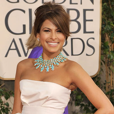 2009 Golden Globes, Hair Trends, Side-swept bang, Eva Mendes