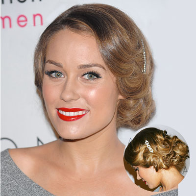A delicate braid tops off Lauren Conrad's ultra-long, slightly wavy tresses.