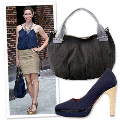 Jessica Biel - Prada - Summer Accessories - Denim - Fashion Accessories