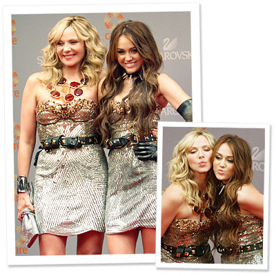 A Sex and The City First? Kim and Miley's Dress Double-Take!