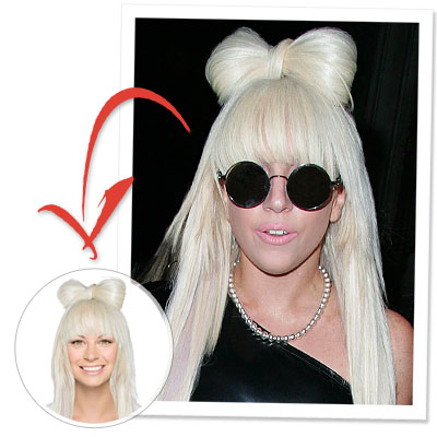 Try on Lady Gaga's bow hair from her Poker Face video in our Hollywood