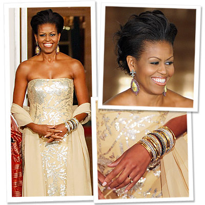 Michelle Obama - State dinner - Naeem Khan