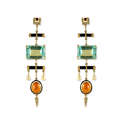 Hanut Singh Blue and Orange Deco Wind Chime Earrings