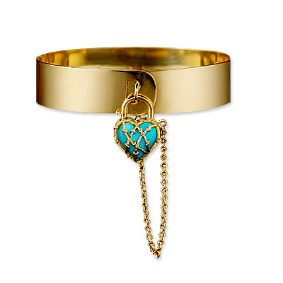 Karen Karch Love Lock 18K Gold and Turquoise Bracelet :  jewelry yellow gold locket chain