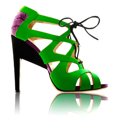 Nicholas Kirkwood Fluro Python Lace-up Sandals