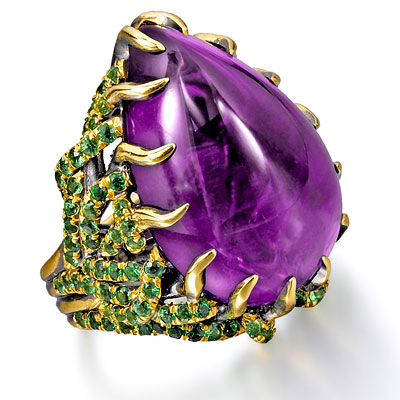 Wendy Brandes Amethyst, Tsavorite and 18K Gold Marie Antoinette Ring