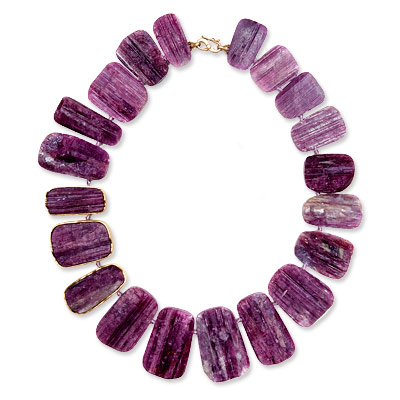 Monique Pean Pink Tourmaline and Gold Bib Necklace
