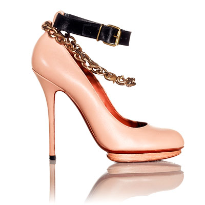 Lanvin Escarpin Bride et Chaine heels :  black dress heel beige bags