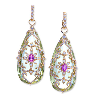 Erica Courtney 18K Gold and Diamond Yellow Beryl and Pink Sapphire Garden Earrings
