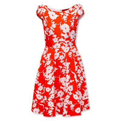 CH Carolina Herrera Orange Floral Dress