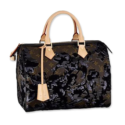 Louis Vuitton Monogram Fleur de Jais Speedy Bag :  black dress sequins bags sequin
