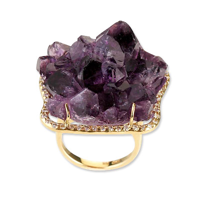 Kimberly McDonald Amethyst, Diamond and Gold Ring