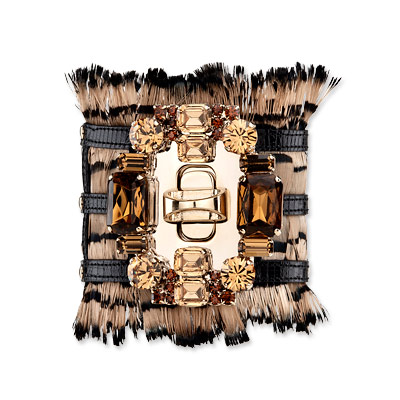 Sergio Rossi Feather and Crystal Cuff