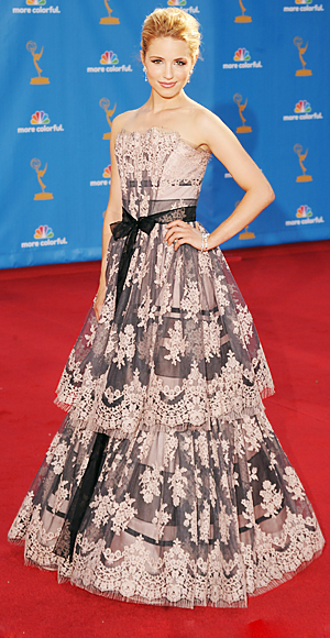 Dianna Agron - Red Carpet Arrivals - Emmy Awards 2010 - Celebrity - InStyle :  celebrities gray scalloped womens