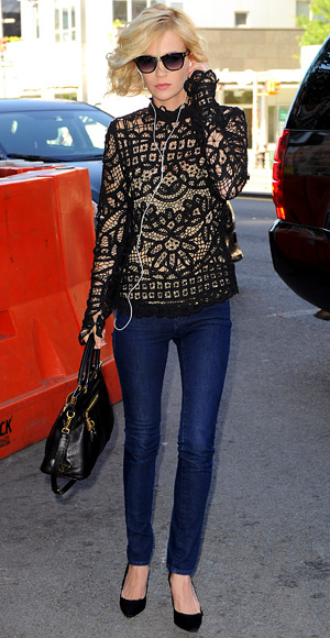 January Jones - Sport a Lace Top - Jeans Trends - Denim