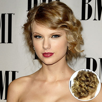 taylor swift updo. Taylor Swift#39;s Curly Updo.