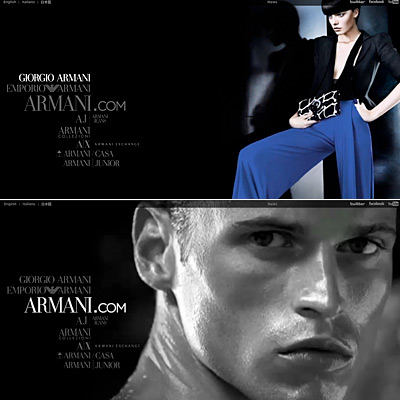 Armani Debuts New Web Site