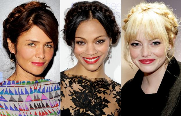 Milkmaid braids: Helena Christensen, Zoe Saldana, Emma Stone
