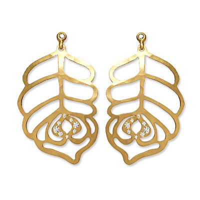 Linda Lee Johnson Gold and Diamond Peacock Earrings