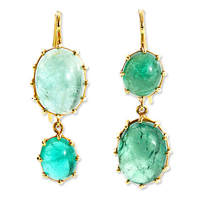 Renee Lewis Emerald and Gold Earrings