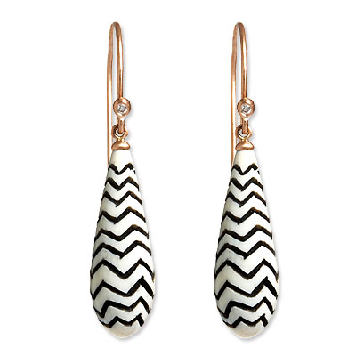 Monique Péan Ivory, Diamond and Rose Gold Cone Earrings