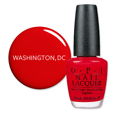 Washington D.C. - America's Most Wanted Nail Colors - OPI Big Apple Red