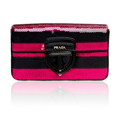 Prada Striped Paillettes Clutch