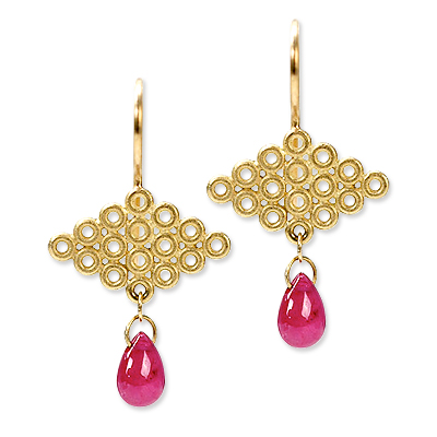 Mallary Marks Gold and Ruby Tibetian Cloud Earrings