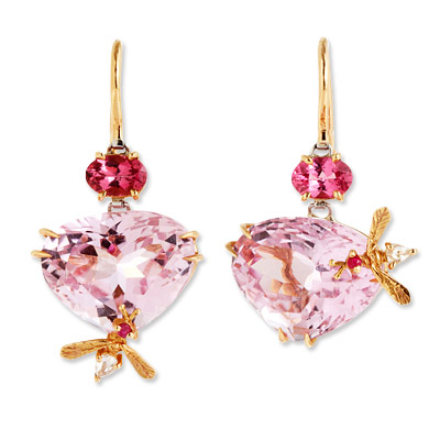 Sharon Khazzam Tourmaline, Diamond and Kunzite Bee Earrings