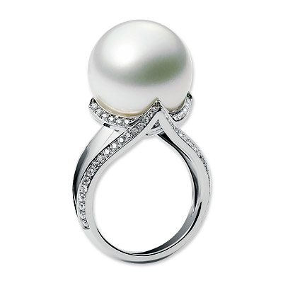 Mikimoto Cultured Pearl and Diamond Ring