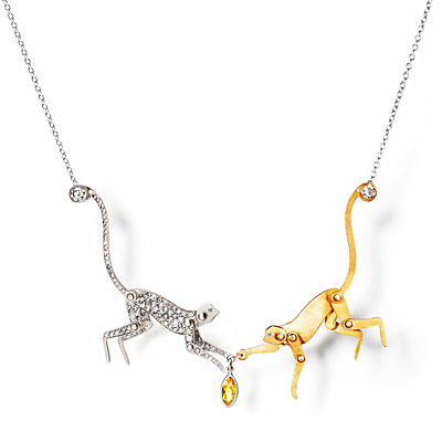 Marc Alary Double Monkey Charm Necklace
