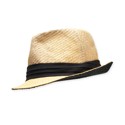Straw and Cotton Fedora, [DOLLAR]13