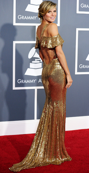 Heidi Klum - Julien Macdonald - Red Carpet Arrivals - Grammy Awards 2011