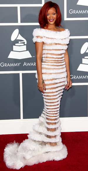 Rihanna - Jean Paul Gaultier - Red Carpet Arrivals - Grammy Awards 2011