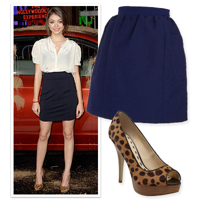 High-Waist Skirt, Print Pumps