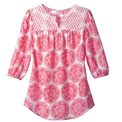 Silk Tunic With Crochet Detail, $37