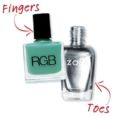 Jenna Hipp - Mint and Silver - Cute Nail Polish Combos for Your Fingers and Toes