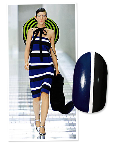 nails - graphic stripes - prada - blue - black - manicure